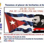 Celebrarán el 63 aniversario del asalto al Cuartel Moncada en la Universidad de Panamá